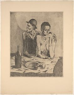 The Frugal Repast Pablo Picasso  (Spanish, Malaga 1881–1973 Mougins, France ) Printer: Printed by Louis Fort (French, 19th–20th century) Publisher: Published by Ambroise Vollard (French, 1867–1939) Date: 1904, printed 1913 Medium: Etching Dimensions: plate: 18 1/4 x 14 7/8 in. (46.4 x 37.8 cm) sheet: 25 11/16 x 19 11/16 in. (65.2 x 50 cm)