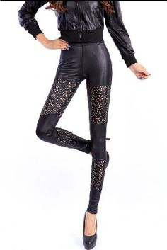 LOCOMO Women Faux Leather Floral Pattern Hollow Cut Out Hole Inset Ankle Length Footless Legging Tregging Tight Pant FFT049 One Size Black LOCOMO Leggings. $12.91