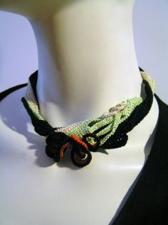 Greenred necklace Matisse by Crochet2Chic on Etsy, $45.00
