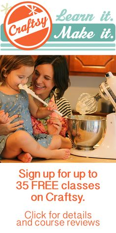 Sign up for up to 35 FREE classes from Craftsy, an online site dedicated dedicated to teaching education and tools in an easy-to-learn, accessible, self-paced environment. Classes include topics on photography, baking, cake decorating, sewing, quilting, embroidery, kitchen skills, gardening and more. #free #diy #crafts #classes