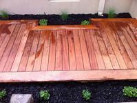 Decking Mt Martha Ground Up Garden Renovators Landscaper Pakenham www.gardenrenovators.com.au Concrete Retaining Walls, Deck With Pergola, Decking, Melbourne, Landscape, Building, Wood, Garden, Garten