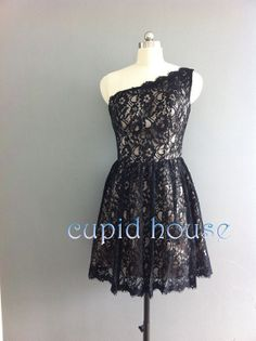 Short Black Lace Bridesmaid Dress White Ivory Mint by CupidHouse, $79.00