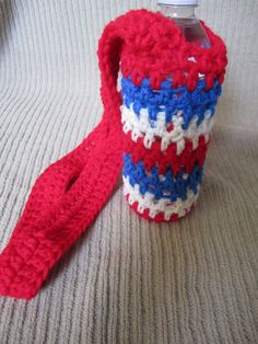Water Bottle Sling Bomb Pop Inspired 4th of July by handmadehealth, $13.00