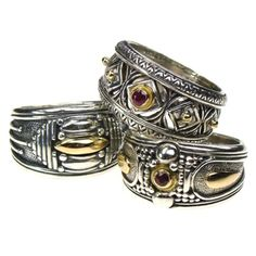 Gerochristo Ring Sterling Silver and Gold 18-karat Made in Greece