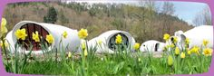 """FRANCE - The Museumotel offers 9 """"bubbles,"""" egg-shaped bungalows each with a bed-room and a bath-room, and each bungalow is themed (Zen, Pop Art, Love, etc.). The motel is set up on an island surrounded by 2 arms of a river in the town, Râon-l'Etape."""