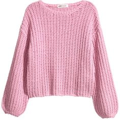 Chunky-knit Sweater $19.99 (€16) ❤ liked on Polyvore featuring tops, sweaters, drop-shoulder tops, ribbed long sleeve top, pink long sleeve top, pink top and pink ribbed top
