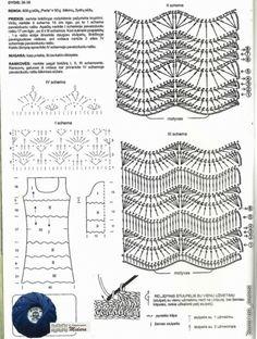 Crochetemoda: Vestido de Crochet Azul II