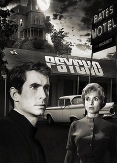 Alfred Hitchcock Psycho Unsigned Photograph Black and White Movie Poster Anthony Perkins Janet Leigh Vera Miles Bates Motel with Faces Capital Sports Horror Movie Posters, Horror Films, Cinema Posters, Film Posters, Norman Bates, George Soros, Bates Motel, Entertainment Weekly, Film Class