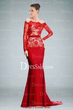Ravishing Off-the-shoulder Sheath Evening Dress Featuring Lace Overlay and Sweep Train dressale.com 149$