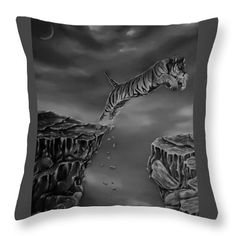Tiger Throw Pillow featuring the drawing The Leap by Faye Anastasopoulou