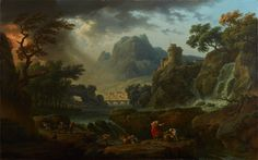 """""""Mountain Landscape with an Approaching Storm"""" is one of a pair of monumental landscapes commissioned by the Marquess of Lansdowne for his famous collectio..."""
