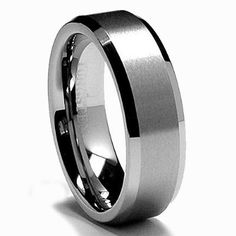 8MM Tungsten Carbide Men's Ring in Comfort Fit and Matte Finish Size 7-13.5