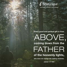 Every good and perfect gift is from above, coming down from the Father of the heavenly lights, who does not change like shifting shadows. --James 1:17