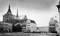 Historisches Rostock, Neuer Markt, Nordseite nach dem 2. WK, Archiv Helmut Aude
