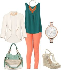 skinny colorful jeans and a white blazer? just remember to keep the blazer on at work and save those bare shoulders for HH or dinner after work! i want that bag! NO BLAZER Summer Outfits, Casual Outfits, Cute Outfits, Business Outfits, Business Casual, Look Office, Work Fashion, College Fashion, Curvy Fashion