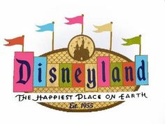 Disneyland Logo - Flags. Maybe I should use this one because the phrase 'The Happiest Place on Earth' is written in black and would show up on a white piece of paper/stickers.