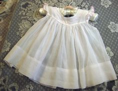 Baby Dress 6 mo. Crisp White Organdy