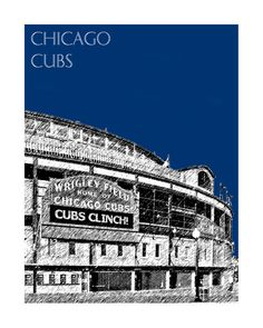 Chicago City Skyline Chicago Cubs Wrigley Field Art