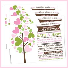 Family Tree Baby Shower - Grown with Love Baby Shower Invitations -...... | lullabyloo - Cards on ArtFire