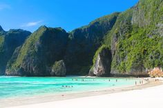One Of The Most Beautiful Beaches In The World! in Asia, Maya Bay, Phi Phi Islands, Thailand -