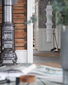 Swedish Style, Swedish House, Swedish Interiors, Scandi Home, Exposed Wood, The Beautiful Country, White Farmhouse, Wood Beams, Designer Wallpaper