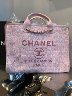 NWT CHANEL PINK DEAUVILLE TOTE GOLD TWEED BOUCLE GST GRAND SHOPPING MEDIUM LRG #CHANEL #Tote