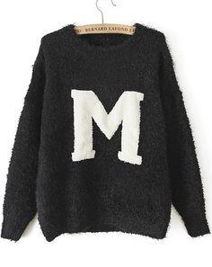 Black Long Sleeve M Print Knit Sweater US$34.75