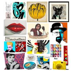 Parte de su cultura es el Pop Art. Pinturas, objetos de decoración y útiles cubren sus espacios en blanco.