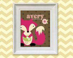 Nursery Art Print  Girl's Pink Fox 8x10 by SimplySublimeBaby, $14.95