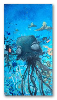 Blind box jelly fish30x50cmacrylic on wood panel