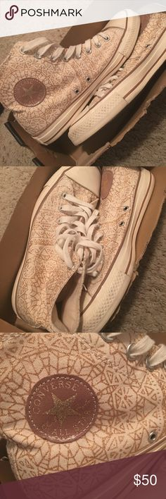Gold Champagne All Star Converse All Star High Top Converse. Special edition . Champagne color with gold flecks. Worn once. In original box. Converse Shoes Sneakers