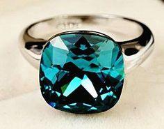 Austrian Aqua Blue Rhinestone & Platinum Plated Ring