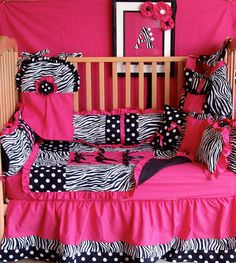 5 pc Hot pink dot zebra baby bedding  free by bedbugscreations, $299.00