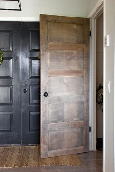5 Panel Door from a Flat Hollow Core Door (Remodelaholic) Farmhouse Interior Doors, Modern Farmhouse Interiors, Diy Interior, 5 Panel Doors, Door Panels, Wooden Living Room Furniture, Diy Furniture, Stained Trim, Mobile Home Makeovers