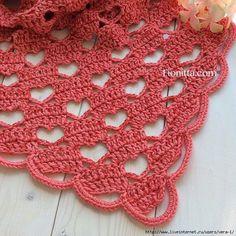 A Hearty Hello Lacy Crochet Shawl free crochet tutorial Poncho Crochet, Crochet Diy, Crochet Shawls And Wraps, Love Crochet, Crochet Scarves, Crochet Crafts, Crochet Projects, Beau Crochet, Crochet Heart Blanket