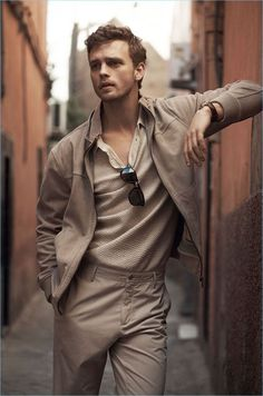 Benjamin Eidem models neutral fashions for Massimo Dutti's spring-summer 2017 campaign.