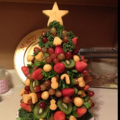 Edible Fruit Christmas Tree - my first attempt not bad!