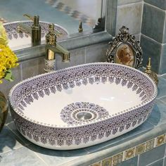 bathroom sink Cheap basin taps, Buy Quality basin tapware directly from China basin pedestal Suppliers: Oval Europe Vintage Style Ceramic Art Basin Sink Counter Top Wash Basin Bathroom Sinks vanities hand painted wash basins