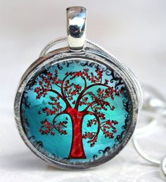 Red Tree Turquoise Art Resin Pendant
