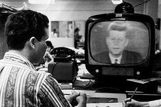 JFK on TV during the Cuba Missile crisis, 1962. The entire world was watching. www.lberger.ca