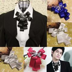 Wedding Satin Tuxedo Prom Groom rhinestone Black Bow Tie Retro Party BA199