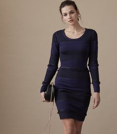REISS - BRIDEY COLOUR-BLOCK BODYCON DRESS