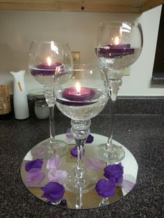 Purple wedding table centerpiece  #Purple wedding receptions ... Wedding ideas for brides, grooms, parents & planners ... https://itunes.apple.com/us/app/the-gold-wedding-planner/id498112599?ls=1=8 … plus how to organise an entire wedding, without overspending ♥ The Gold Wedding Planner iPhone App ♥