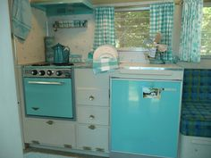 "Vintage Turquoise Blue Kitchen in 1964 Travel Trailer, Oasis ""Bellflower"" Camper Caravan"