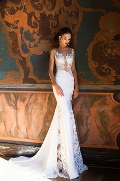 Backless White Lace Appliques Sheer Wedding Dress Bride Mermaid Gowns Sexual Buttons Back Long Dress Vestido De Casamento Longo - Unitedzon Fitted Wedding Gown, Bridal Wedding Dresses, Wedding Bride, 2017 Wedding, 2017 Bridal, Backless Wedding, Bridal Style, Boho Wedding, Prince Charmant