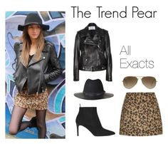 """""""The Trend Pear: Leopard and Leather"""" by thetrendpear-eleanor ❤ liked on Polyvore featuring Topshop, The Kooples, Acne Studios, Ray-Ban and Yves Saint Laurent"""