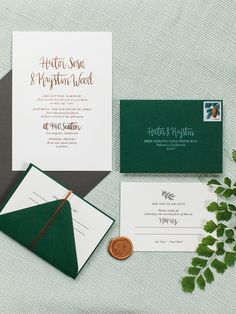 Emerald and gold wedding invitations seem so sophisticated but the playful and elegant font makes them anything but stuffy