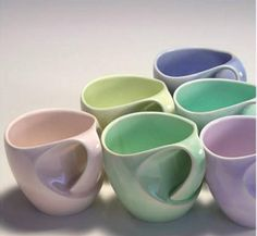 Mugs with a mix of pastel colors - funky shape - want these...