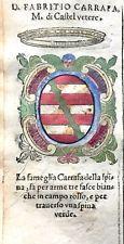 1586 ARALDICA STEMMA FABRIZIO CARAFA Marchese di Castelvetere Regno Napoli