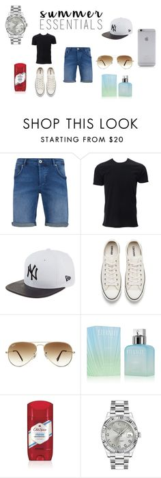 """""""Boyfriend Summer Essentials"""" by fashionistagirl9898 on Polyvore featuring SELECTED, New Era, Converse, Ray-Ban, Calvin Klein, Rolex, Native Union, men's fashion, menswear and summermenswearessentials"""